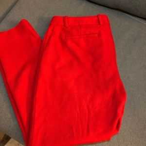 Cherry Red JCrew Ankle Pants with subtle stretch